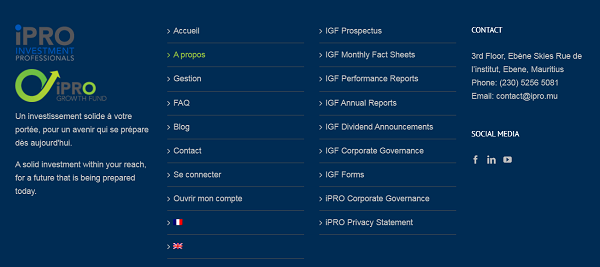 iPRO Investments Professionals footer